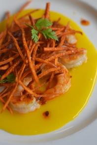 Brennan's_Brunch_Egg Yolk Carpaccio with Grilled Shrimp, Crispy Sweet Potato, Andouille Vinaigrette1