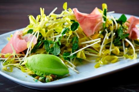 Pea Shoots salad with pea sorbet