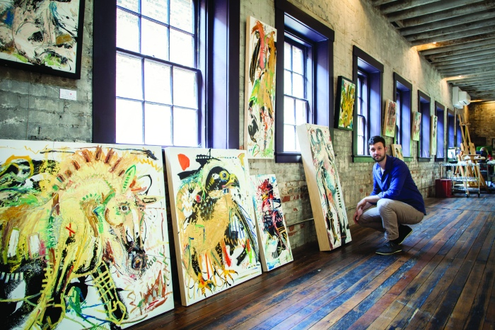 River Arts DistrictArtist Daniel McMillan in his studio. Model release signed